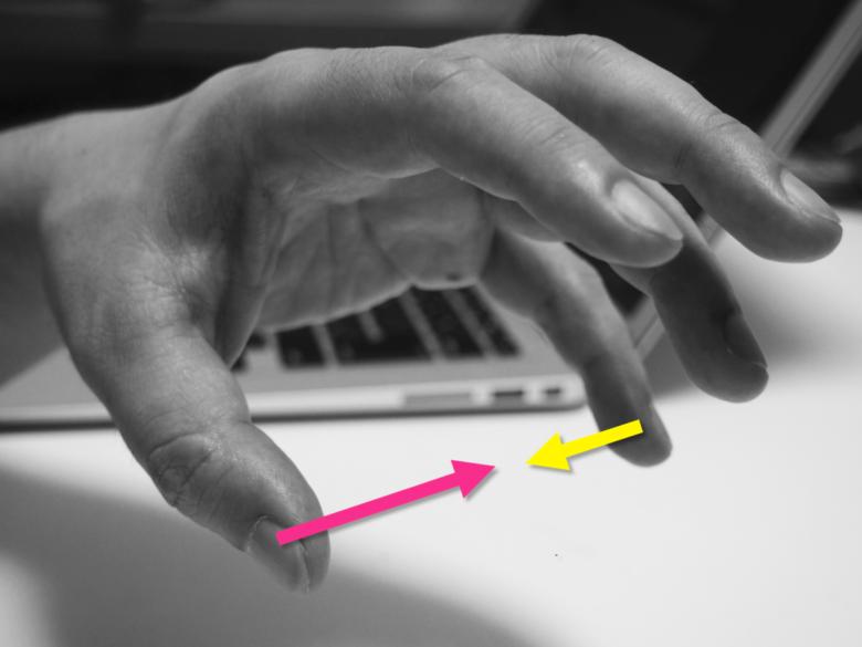 近づく親指と小指